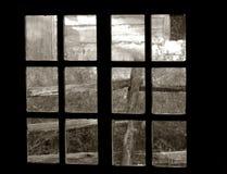 Old Garden view through an Old Window Royalty Free Stock Photos