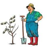 Old gardener grows dollars on a tree vector illustration