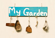 Old gardening tools as decoration Royalty Free Stock Image