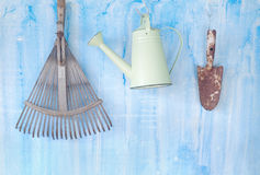 Old gardening tools. Free copy space stock images