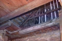 Old garret, attic loft / roof construction royalty free stock photography