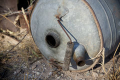 Old Gas Can Antique. Old gas can laying in the desert. Old automobile antique gas can stock image