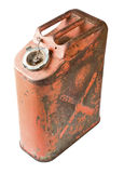Old gas can isolated with clipping path. Fuel container sometimes called a gerry can stock photo