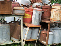 Old Gas Cans at Junkyard Royalty Free Stock Photo