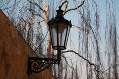 Old gas lamp. Detail historic lantern in Prague Royalty Free Stock Photography