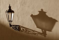Old gas-lamp on the wall Royalty Free Stock Photography