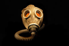Old gas mask. Isolated on the black background royalty free stock images