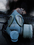 Old gas mask. Left after a booming explosion stock image