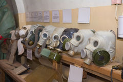 Old gas masks in military soviet bunker Royalty Free Stock Photography