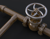 Old gas pipe valve 3D illustration. Old gas pipe with valve 3d illustration Stock Image