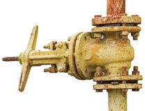 Old gas pipe with a valve on white Royalty Free Stock Photography