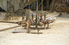 Old gas pipilines with faucet Stock Photography