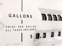 Old gas pump. Up close view of an old gas pump.   Who buys 90 gallons of gas??   Maybe they filled up their tank on the ole SUV Royalty Free Stock Photos