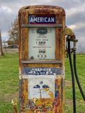 Old Gas Pump. Classic Vintage Old Time Gas Pump Face, a bit worn out royalty free stock images