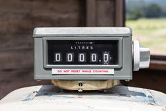 Old gas pump counter zero. Royalty Free Stock Photo