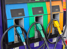 Gas pump filling nozzles Royalty Free Stock Photo