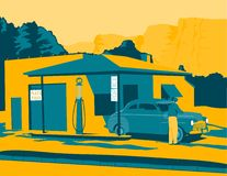 Old Gas Station. Vintage looking illustration of an old gas station Stock Photo