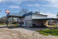 Old Gas station in Cherokee Texas. Old gas station deserted and abandoned in Cherokee Texas, now for sale royalty free stock photo