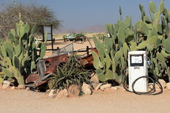 Old gas station and petrol pump in Namibia Royalty Free Stock Image