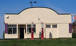 Old Gas Station With Pumps Royalty Free Stock Photos