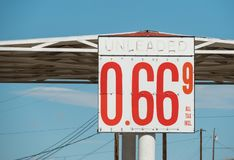 Cheap gas on Route 66. Old gas station on Route 66 in Arizona advertises cheap gas stock images
