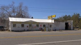 Old gas station in the village of Benton - BENTON, USA - MARCH 29, 2019. Old gas station in the village of Benton - BENTON, UNITED STATES - MARCH 29, 2019 stock video