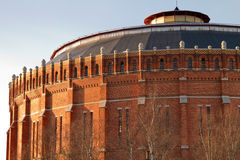 Old gasometer. Closeup of old gasometer made of brick royalty free stock images
