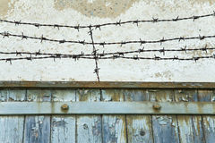 Old gate with barbed wire royalty free stock images