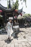 Young couple taking wedding photos in scenic area. The Old Gate East area of Nanjing Qinhuai District of Nanjing has the characteristics of Nanjing Old Town stock images