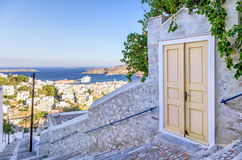 Old gate in Ermoupolis, Syros island, Cyclades, Greece Stock Photography