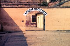 Old gate in former concentration camp in Small Fortress of Terezin.  Royalty Free Stock Photos