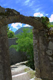 Old gate. Old fortress gate above Kotor town.The old Mediterranean port of Kotor is surrounded by fortifications built during the Venetian period Royalty Free Stock Photo