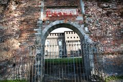 Old gate of Italian castle Stock Photos