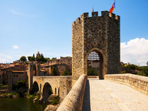 Old gate into medieval town. Besalu Stock Photo