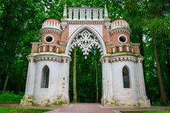 The old gate of Tsaritsyno Palace and public park in Moscow, Russia. royalty free stock images