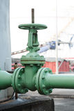 Old gate valve open industrial plant Stock Photo