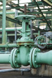 Old gate valve open industrial plant Royalty Free Stock Image