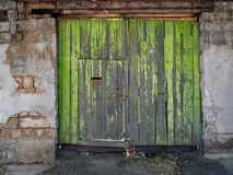 Old gates. Old green wooden gate in Kerch, Crimea, Ukraine Stock Photo