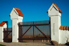 Old gates. In rural part of Denmark stock photography