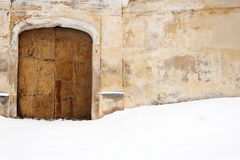 Old gates and snow Royalty Free Stock Images