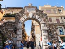Old gateway Porta Messina in Taormina city Stock Photos