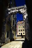 Old Gateway or Roman Arch in Rijeka,Croatia. Old Gateway or Roman Arch,main entrance to the ancient city royalty free stock photo