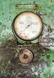 Old gauge panel in the oily. Green Stock Image
