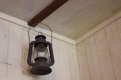 Old gaz lantern. Old gaz lamp in marine style, hooked to wall Stock Image