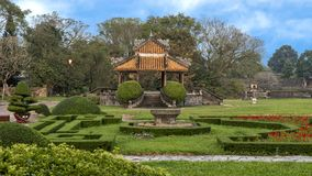 Old Gazebo in the garden of the Forbidden city , Imperial City inside the Citadel, Hue, Vietnam. Pictured is an old Gazebo in the garden of the forbidden city stock photo