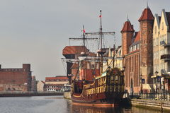 Old Gdansk Harbor With Ship Mooring Royalty Free Stock Photography