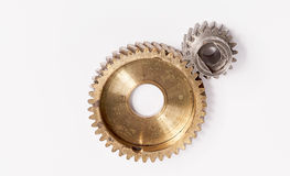 Old gear plastic brass Stainless steel on white background Royalty Free Stock Image