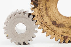 Old gear  Stainless steel on white background. Old gear brass Stainless steel on white background Royalty Free Stock Photo