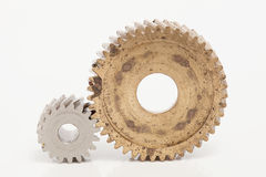 Old gear  Stainless steel on white background. Old gear brass Stainless steel on white background Stock Photography