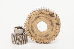 Old gear  Stainless steel on white background. Old gear brass Stainless steel on white background Royalty Free Stock Image